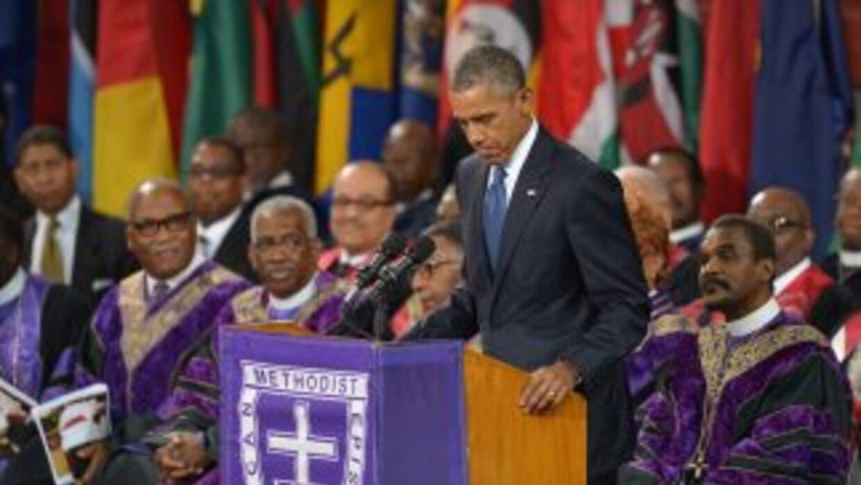 El presidente Obama durante su discurso en Charleston