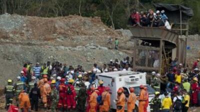 Imagen de la mina ilegal que se derrumbó el miércoles pasado en Colombia.