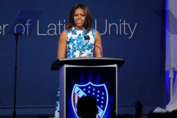 Michelle Obama se dirigió a todos los presentes con unas palabras...