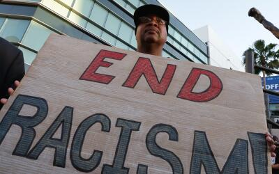 A protester against racism in California