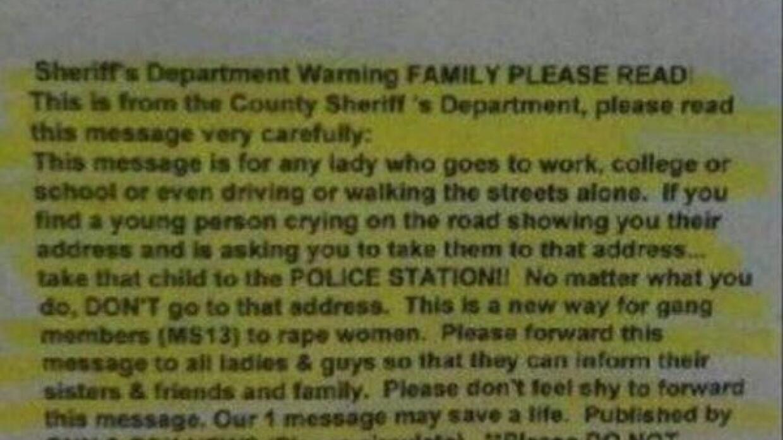 Este es uno de los mensajes que circula con la advertencia falsa.