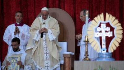 El Papa durante la misa de canonización de Junípero Serra