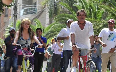 Así fue el rodaje de 'La Bicicleta' por las calles de Barranquilla.
