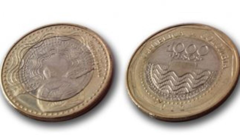 La moneda de 1,000 pesos en Colombia. (Imagen tomada de Twitter).