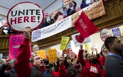 Una manifestación pro inmigrante en una iglesia de Washington