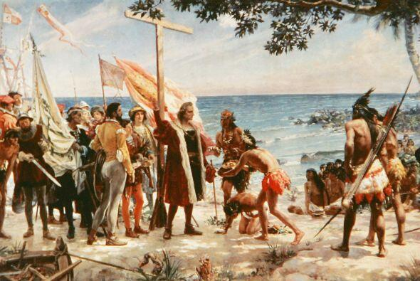 La llegada de Cristóbal Colón a las islas caribeñas de Bahamas el 12 de...