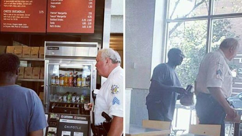 Policía de Chicago compra comida a indigente