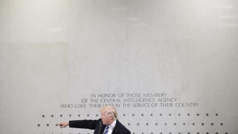 Donald Trump durante su visita este sábado a la sede de la CIA.