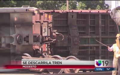 Descarrila tren de carga en Modesto