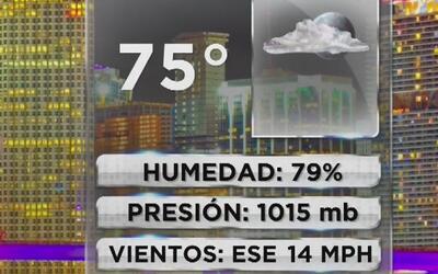 Cielo parcialmente nublado y baja probabilidad de lluvia en Miami