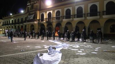 El despliegue policial en Ajalpan, Puebla, en octubre del año pasado, tr...