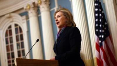 La secretaria de Estado, Hillary Clinton, brindó una conferencia de pren...