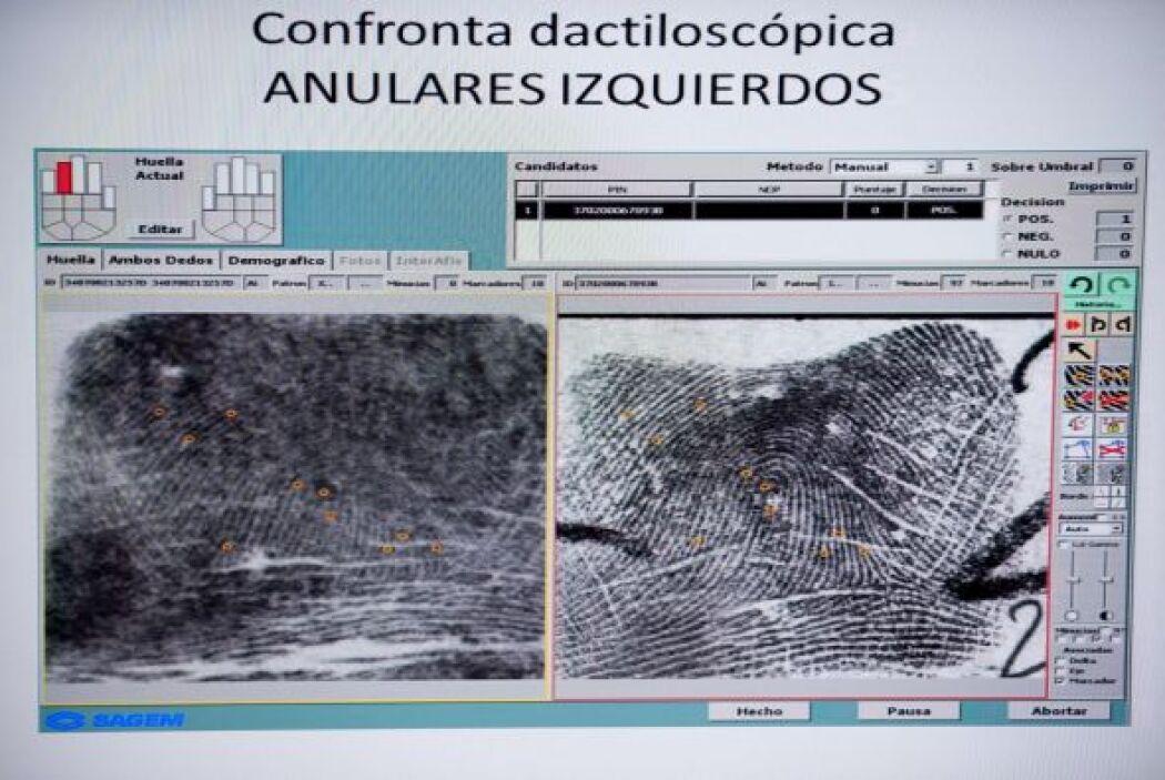 En esta se muestra una comparación entre dos huellas dactilares del pres...