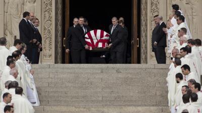 El féretro de Scalia, cubierto por la bandera de EEUU