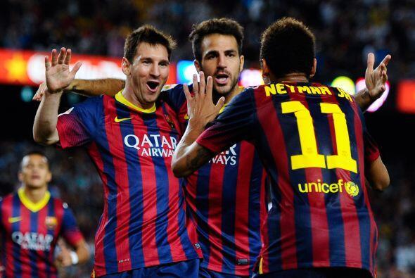 Messi, Fábregas y Neymar cada vez se acoplan más y estos festejos parece...