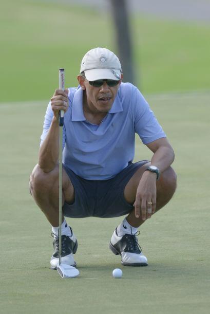 Durante su juego, Obama lucía concentrado.