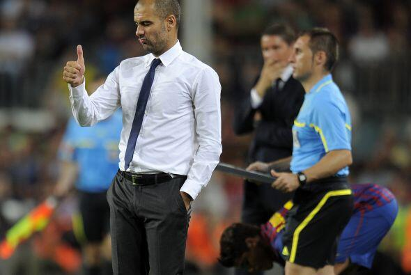 Incluso Guardiola se unía a sus jugadores dejando en claro que agradece...