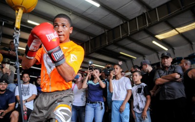 Félix Verdejo en su entrenamiento público.