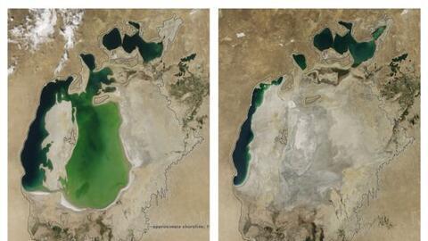 El Mar Aral, conocido por haber sido el cuarto lago más grande de...