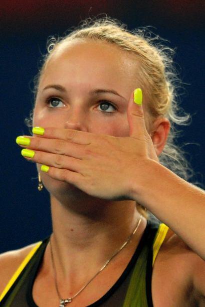 Caroline Wozniacki se despide de su público tras su victoria y se...