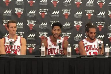 Fotos del detrás de cámaras del Media Day de los Bulls de Chicago.