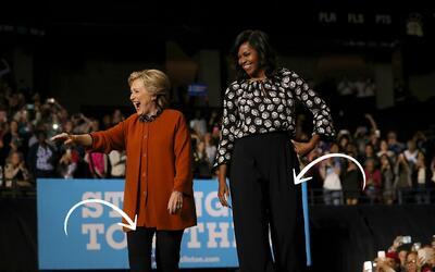 Con pantalones negros  y tops de colores neutros lucieron Hillary Clinto...
