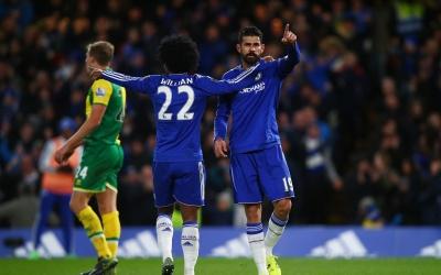 Diego Costa celebra el gol del triunfo de Chelsea sobre Norwich.
