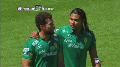 Toluca vs. León: Miguel Sabah marca el tercero de cabeza al 64'