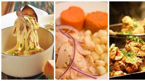 Pasta con paceta, ceviche peruano y pollo con okras