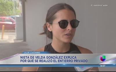 Entierro privado para Velda González de Modestti