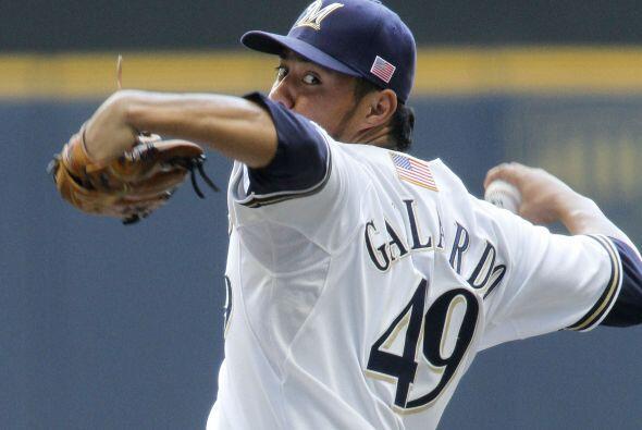 SP. Yovani Gallardo. Cerveceros de Milwaukee. En 2011, tiene una marca d...