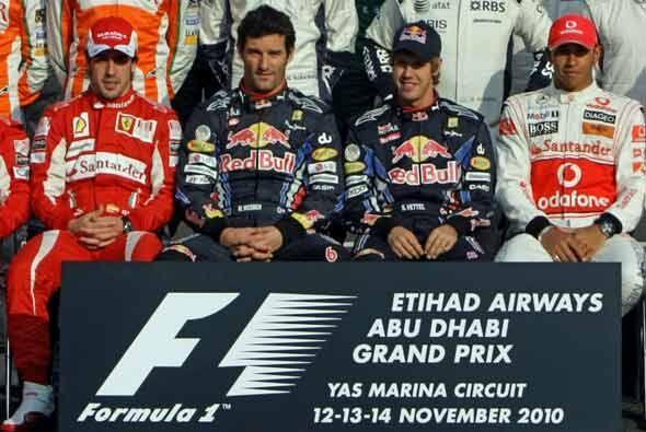 Fernando Alonso, Mark Webber, Sebastian Vettel y Lewis Hamilt grandes pr...
