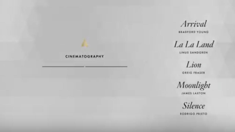 Nominados cinematografía Oscars 2017