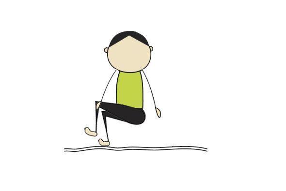 ESTIRAMIENTO ROTACIONAL LUMBAR EN SILLA: Sentado, cruza una pierna sobre...