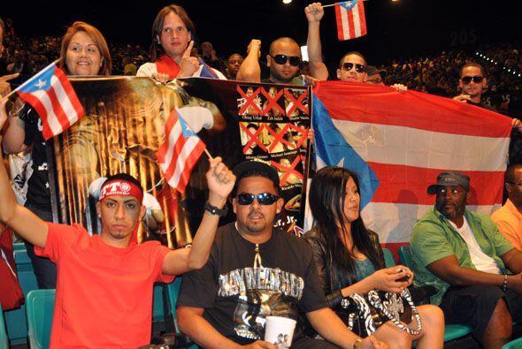 Gran mayoría de puertorriqueños que fueron a apoyar a Miguel Cotto.