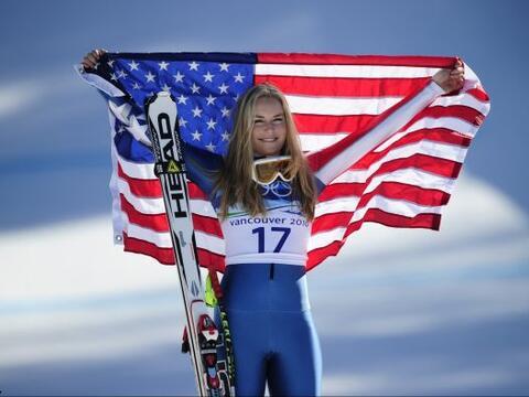 La estrella estadounidense Lindsey Vonn, de 26 años,  doble campe...