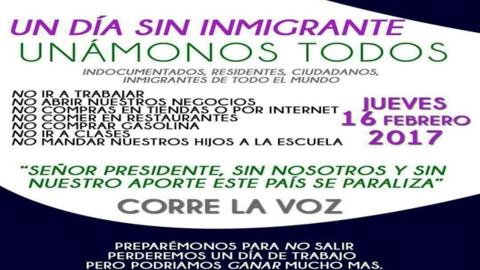 Imagen del mensaje viral que convoca a una huelga de inmigrantes el próx...