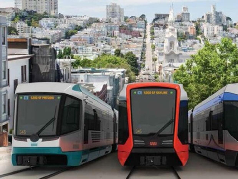 Algunos de los 175 nuevos trenes Muni que se empezarán a utilizar...