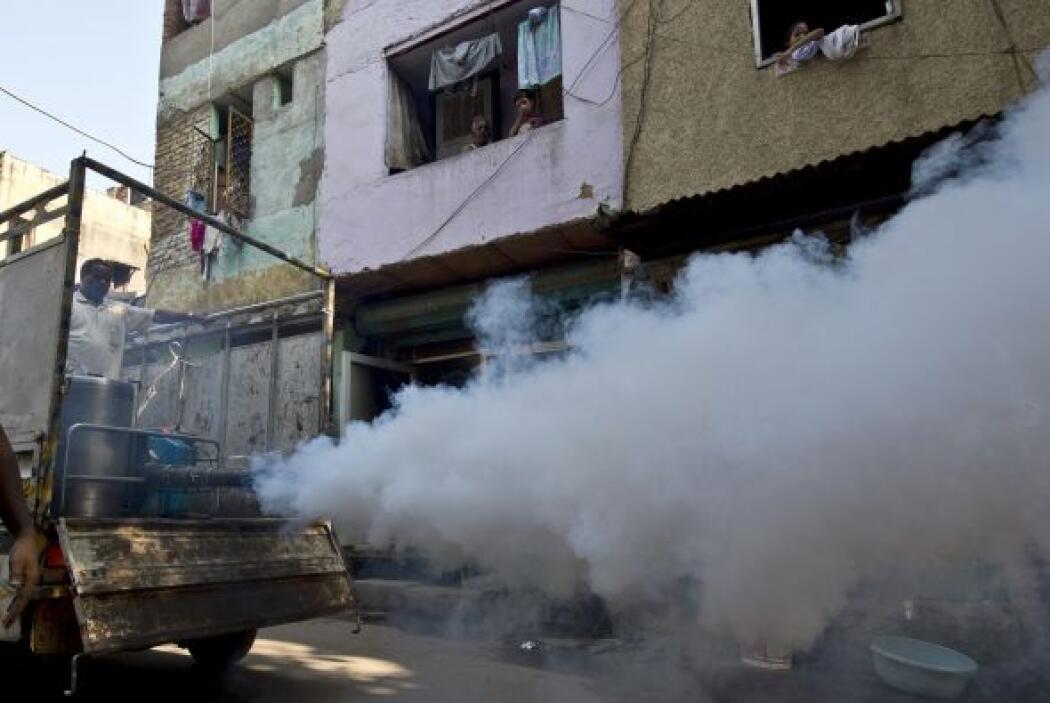 Un trabajador municipal fumiga las calles de Nueva Delhi para evitar la...