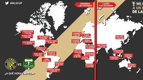 Horarios de la MLS Cup alrededor del mundo