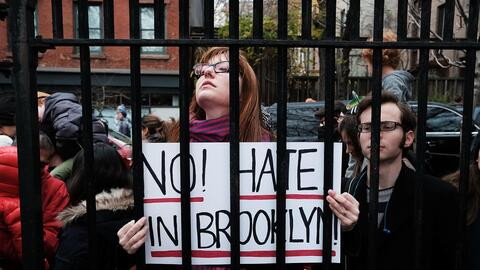 Protest against hate in Brooklyn, New York.