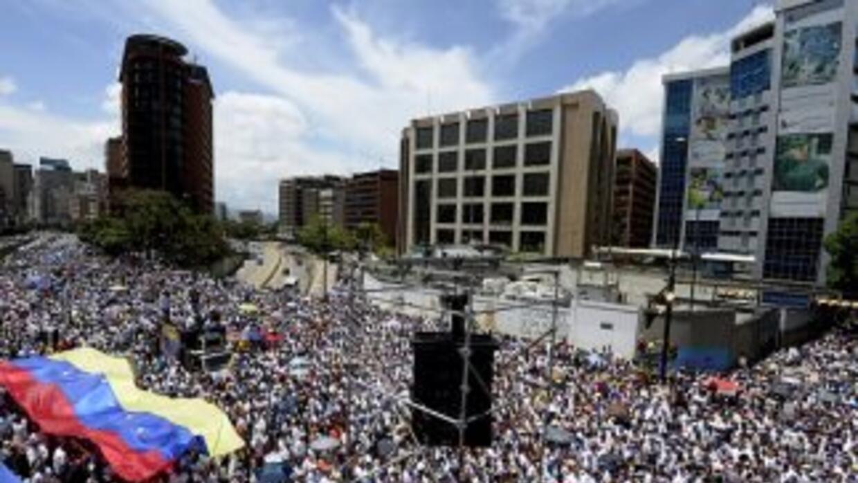 Manifestantes en Caracas este sábado.
