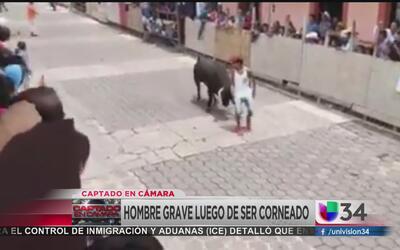 Un joven resultó herido por un toro en una fiesta patronal de Veracruz