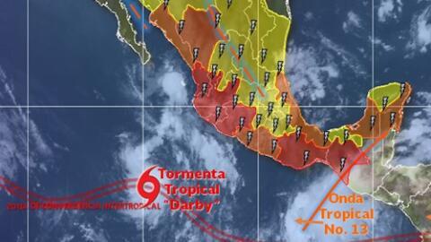La evolución de la tormenta tropical Darby.