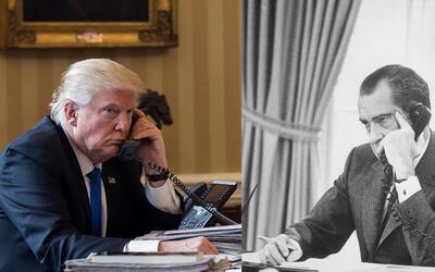 Donald Trump y Richard Nixon en la Oficina Oval de la Casa Blanca
