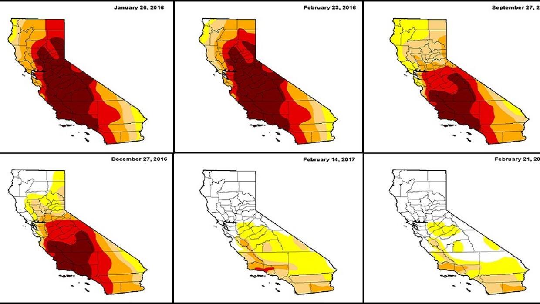 Imágenes de la sequía en California de enero de 2016 a feb...