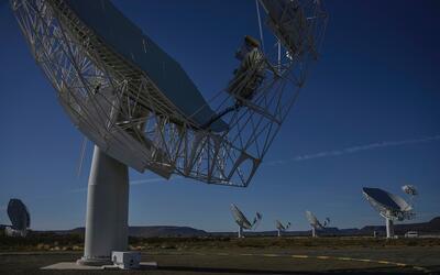 Un radiotelescopio en Suráfrica.