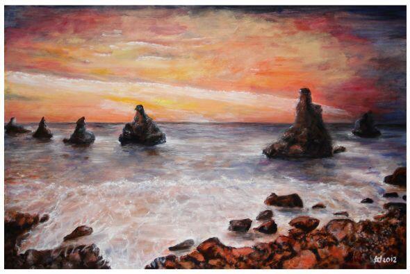 Tina Wray solamente puede ver pequeñas secciones de sus pinturas...