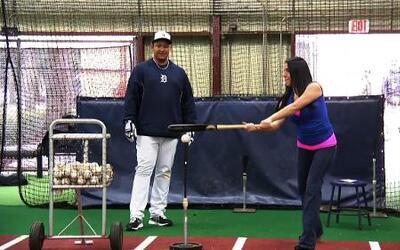 Lindsay Casinelli en las prácticas de primavera de la MLB