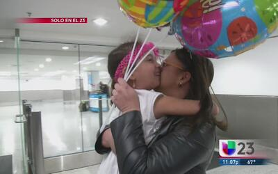 Madre cubana se reencuentra con su hijita de 4 años